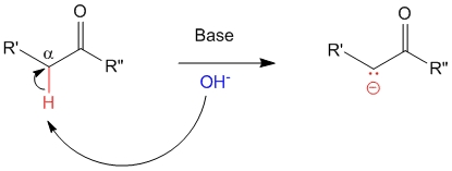 Base abstracts alpha-hydrogen of the carbonyl compound.