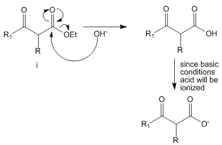 Basic conditions force ester hydrolysis and yield carboxylates.