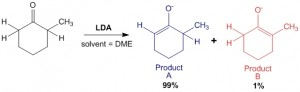 Figure 4 - Reaction of 2-methyl hexanone with Lithium Diisopropylamine (LDA) gives two products A and B