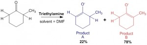 Figure 5 - Reaction of 2-methyl hexanone with triethylamine gives two products A and B