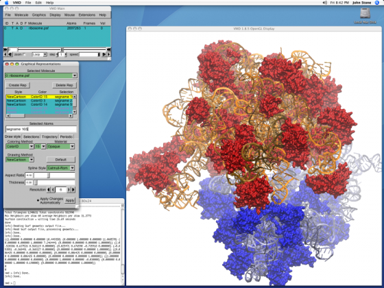 Screen Shot of the VMD user interface displaying a protein