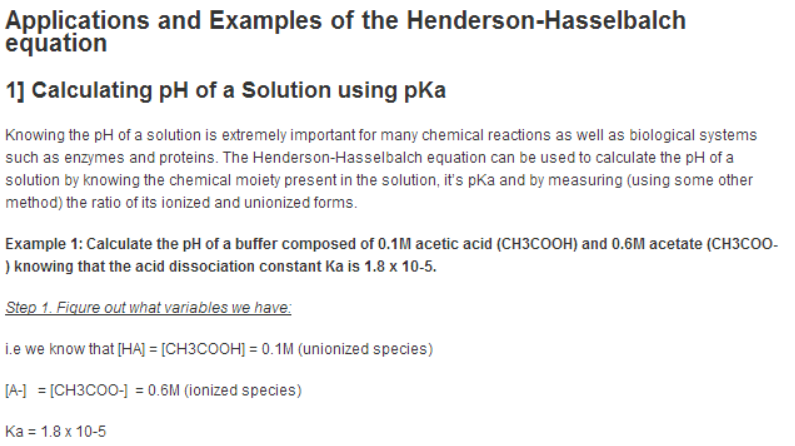 Applications and Examples of Henderson Hasselbalch Equation